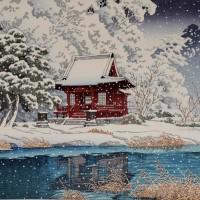巴水 社頭の雪