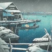 巴水 雪の向島