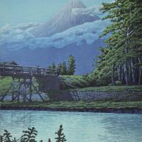 巴水 田子の浦橋